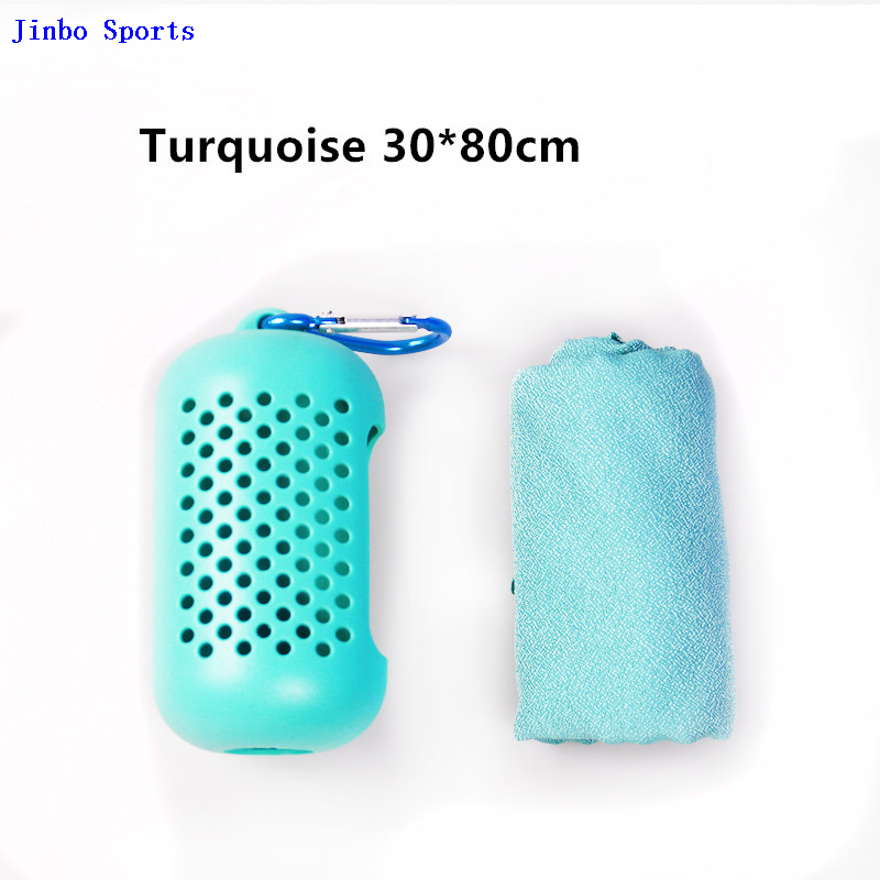 Outdoor And Indoor Sports Instant GYM Microfiber Ice Cooling Towel for Sport with Silicon Case
